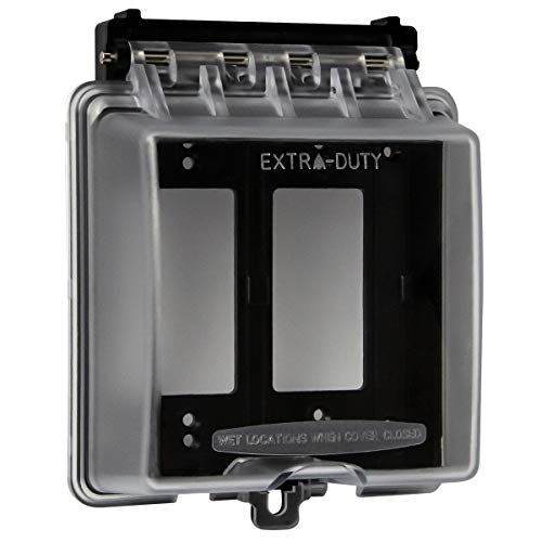 ENERLITES Extra-Duty In-Use Weatherproof Outdoor Cover for Decorator GFCI Receptacle Outlets, 2-Gang 6.1