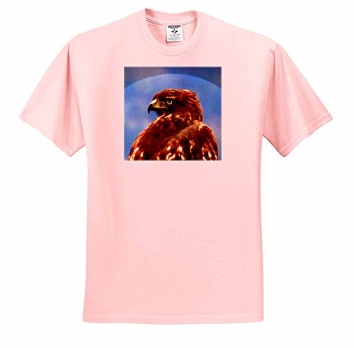 Mark Grace ANIMALS - birds - Alert and at attention, the majestic Hawk constantly scans the horizon - T-Shirts - Adult Light-Pink-T-Shirt XL (ts_243350_37) ()