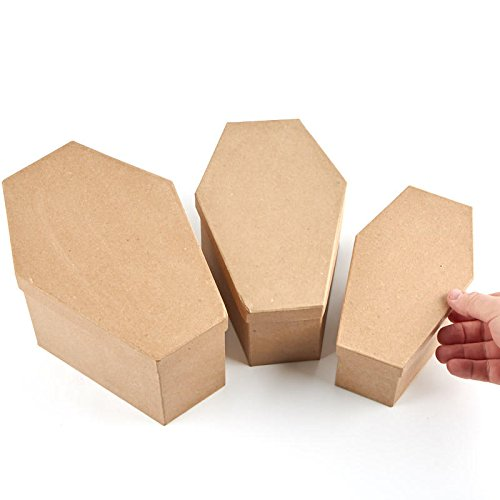 Factory Direct Craft Graduated Size Unfinished Paper Mache Coffin Boxes - 3 Boxes ()
