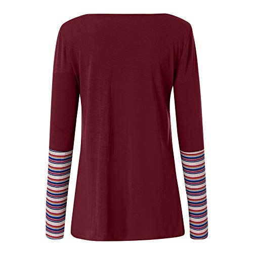 Manches Ray Top Chic OSYARD Vin Longues Top Multicolore Blouse Femme Chemisier Chemise Col Mode Chemisier O Shirt Classique AXwXEfH