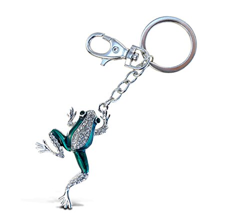 Puzzled Clear & Green Frog Sparkling Charm Elegant Keychain (Jewellery Frog Great)