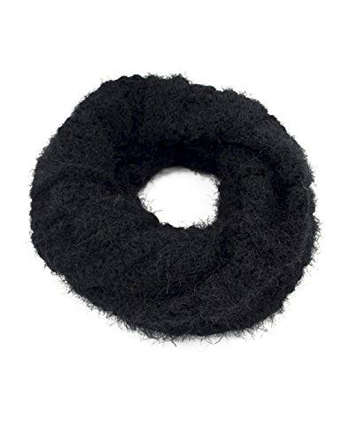 Dahlia Women's Knit Infinity Scarf - Silky Soft Feather Yarn - Black
