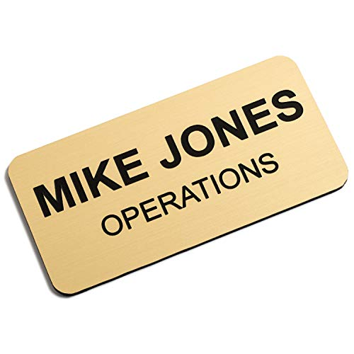 Custom Engraved Name Tag Badges – Personalized Identification with Pin or Magnetic Backing, 1.5 Inches x 3 Inches, European Gold/Black