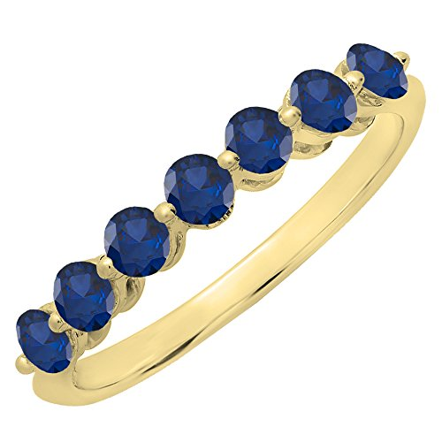 Blue Sapphire Gold 18k Ring - 18K Yellow Gold Round Blue Sapphire Ladies 7 Stones Wedding Band Ring (Size 5.5)