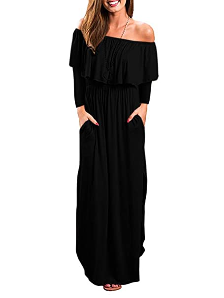 GAMISOTE Womens Off The Shoulder Plus Size Ruffle Casual Long Maxi Dresses  with Pockets