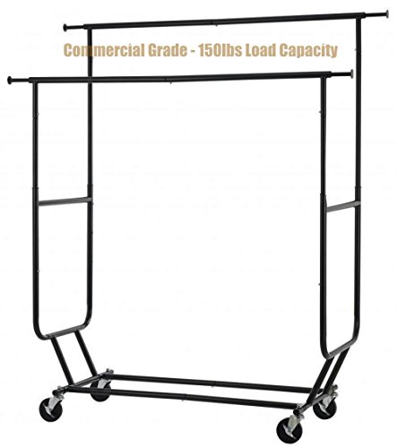 New Commercial Grade Collapsible Clothing Rolling Double Garment Hanger Heavy Duty Steel Rack/ Black Finish #1184b (Pottery Barn Double Rod)