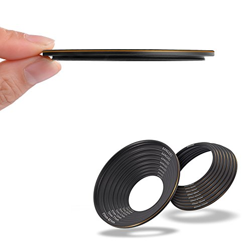 Rangers 16pcs 2.8mm Ultra-thin 49-82mm and 82-49mm Step Up / Step Down Combination Adaptor Rings for Canon, Nikon, Pentax, Sony, Leica, Fuji, Lumix, ()