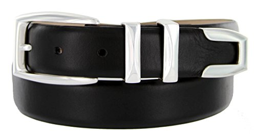 S5786 - Men's Italian Calfskin Designer Dress Belt with Silver Plated Buckle Set (44 Smooth Black)