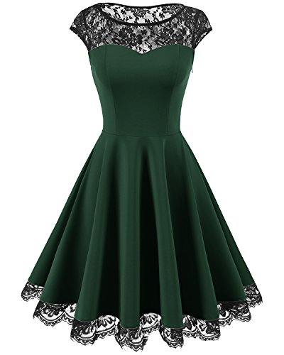 Homrain Women's Vintage 1950s Floral Lace Scoop Neck Cap Sleeve Cocktail Party Dress Dark Green XL (Green Wedding Dress)