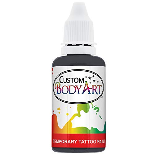 Custom Body Art 1-Ounce Black Temporary Airbrush Tattoo Body Art Paint Alcohol Based