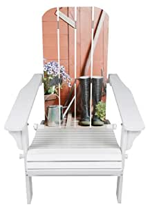 River Cottage Gardens 542092 White Adirondack Chair With Garden Scene Graphics