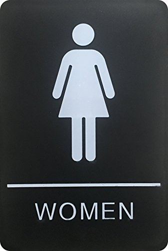 Women's Braille Restroom Sign - Approved Bathroom Sign with Double Sided 3M Tape