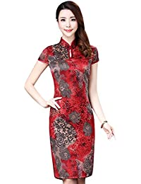 84ca17a875600 Seacolor Women Chinese Cheongsam Qipao Dress Short Sleeve Bodycon Floral  Printed Evening Party Dress