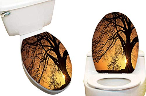 Vinyl Toilet Lid Decal Willow Tree The Sun behin The Tree Fashion Toilet Seat Wall Sticker Decals Vinyl Art 12