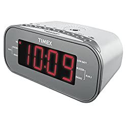 Timex T231W2 AM/FM Dual Alarm Clock Radio with 1.2-Inch Green Display and Line-In Jack (White)