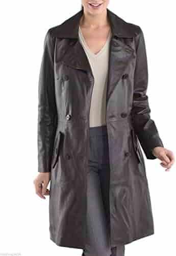 Koza Leathers Womens Lambskin Leather Trench Jacket Over Coat WT009