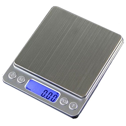 Rich-D Digital Multifunction Kitchen and Food Scale,0.1g/3kg(6.6lb),Mini Platform Scales with LCD Display, Jewelry and Gems Weigh Scale with 2 Trays