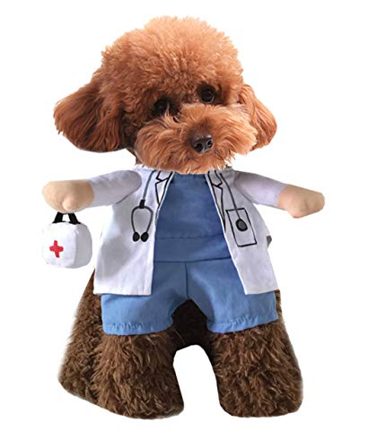 Xiaoyu Puppy Dog Cat Halloween Costume, Doctor Style Costume, Doctor Coat Medicine Box for Dog Cat Cosplay Party, L