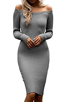 ZKESS Women's Long Sleeve Knit Sweater Pullover Dress