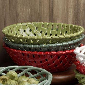 Casafina Green Large Oval Ceramic Bread Basket