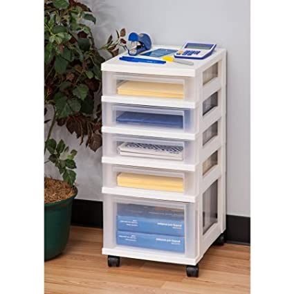 IRIS 6 Drawer Storage Cart With Organizer, White (5 Drawer Without Organizer