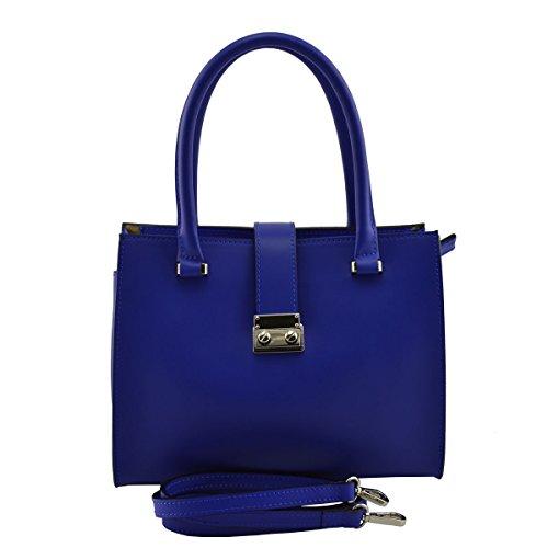 Bolso De Mano En Piel Verdadera Color Azul - Peleteria Echa En Italia - Bolso Mujer