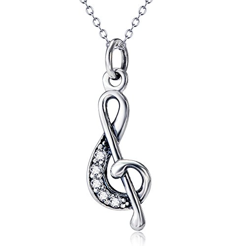Sterling Silver Musical Notes Charm (YFN 925 Sterling Silver Treble Clef G Musical Music Note Jewelry Pendant Necklace 18