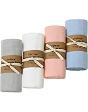 LifeTree Solid Muslin Swaddle Blankets, Bamboo Cotton Baby Swaddle Wrap for Boys and Girls