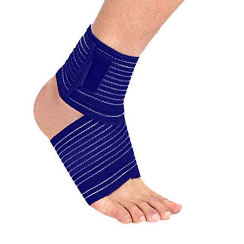 Happywendy Elastic Breathable Ankle Support Wraps - Adjustable Ankle Compression Brace Sports Bandage Strap for Wrist Foot Elbow Hand with Velcro Straps 1 Pair (Blue)