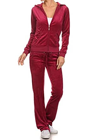 G2 Chic Women's Junior + Missy Basic Solid Velour & Fleece Suit Two Piece Set(ACT-SET,MGNA2-S)