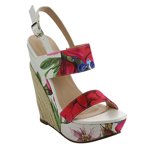Chase & Chloe Eh85 Vrouwen Bloemenprint Platform Espadrille Sleehak Sandalen Witte Bloemen