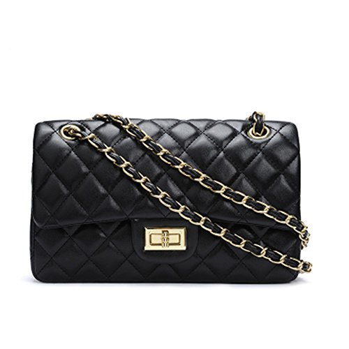 Quilted Chain Handbag (Women's Chain Quilted PU Leather Shoulder Bag (11', Black))