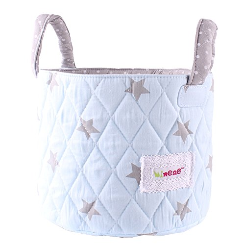 Minene Small Blue with Grey Stars Fabric Storage Basket Organiser with Handles 18x22cm 21132