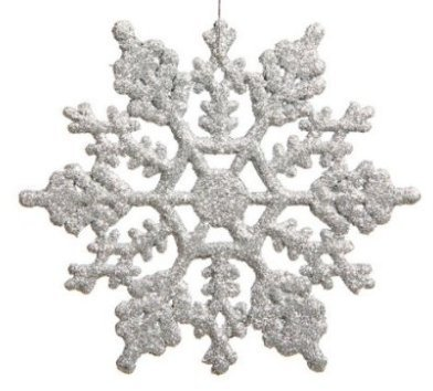 Glitter Snowflake Christmas Ornaments (Plastic Snowflake Ornaments,tiny 24pcs Sparkling silver Iridescent Glitter Snowflake Ornaments on String Hanger for Decorating, Crafting and Embellishing (3inch,)