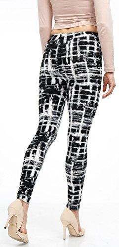 LMB Lush Moda Extra Soft Leggings with Designs- Variety of Prints - 720F Black White Stripes B5 by LMB (Image #6)