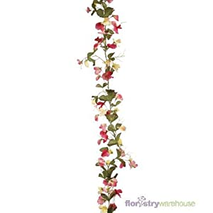 Floristrywarehouse Artificial Sweetpea Garland Pink/Lemon 6ft