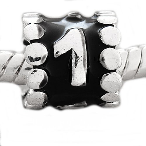 "Pro Jewelry Choose Your Lucky Numbers "" Black Enamel Number Charm Beads"" From 0-9 Spacer (1)"