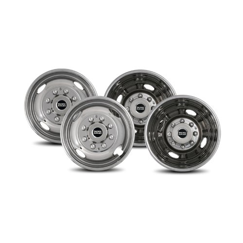 Pacific Dualies 38-1608 Polished 16 Inch 8 Lug Stainless Steel Wheel Simulator Kit for 1974-2000 Chevy GMC 3500, 1974-1998 Ford F350, 2008-2019 Ford E350/E450 Van, 1974-1999 Dodge Ram 3500