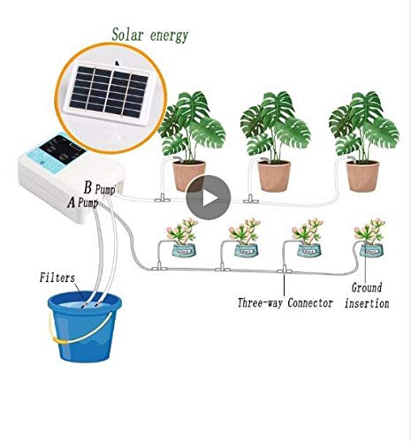 TQ Upgraded Solar Energy Charging Intelligent Garden Automatic Watering Device Potted Plant Drip Irrigation Water Pump Timer System