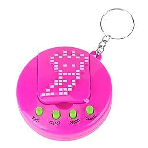 Children Electronic Pet Game Machine, Retro Pocket Virtual Pet Toy Mini Digital Pet Hand-held Game for Kids(Rose Red)