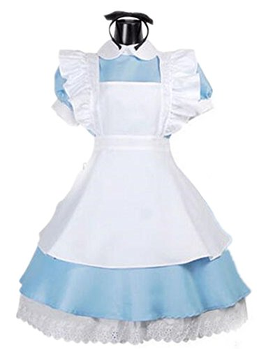 No Brand Women Lolita Maid Dress Costume Cosplay with Apron Blue (L)