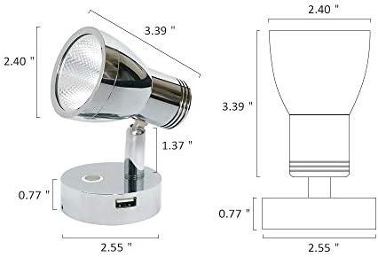 luces LED flexibles dise/ñadas para coches furgonetas Luz de lectura DC 12 V con puerto de carga USB plateado barcos y caravanas