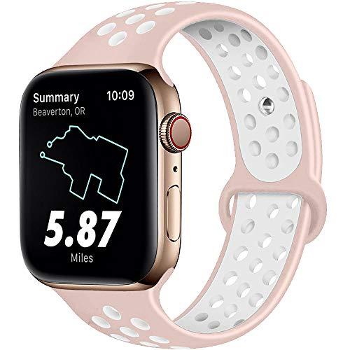 RUOQINI Compatible for Apple Watch Band 38MM 40MM, Dual-Color Soft Silicone Sport Replacement Band Compatible for Apple Watch Series 5/4/3/2/1 (M/L Size in Pink Sand/White Color)