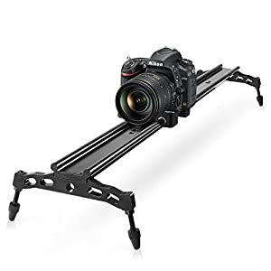 """COOCHEER Camera Slider, Aluminum DSLR Dolly Track Rail Perfect for Photography and Video Recording with 1/4"""" 3/8"""" Screw for YouTube video and short filmmakers (80cm Camera Slider) from COOCHEER"""