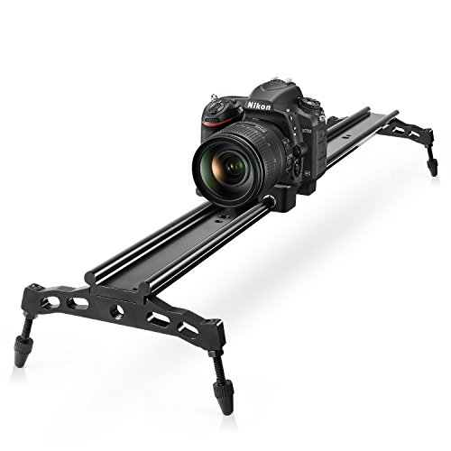 COOCHEER Camera Slider, Aluminum DSLR Dolly Track Rail Perfect for Photography and Video Recording with 1/4'' 3/8'' Screw for YouTube video and short filmmakers (80cm Camera Slider) by COOCHEER