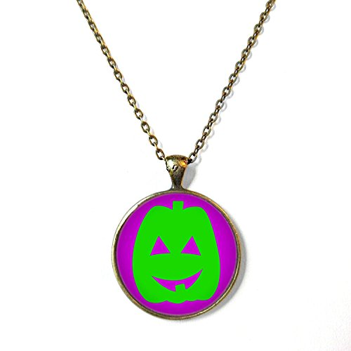 Purple and Green Jack O Lantern Halloween Necklace, 18