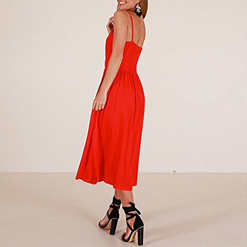 Boho Tie Floral Midi plain Down Women's your Straps Front red Dress Style fashion Swing record Backless Button CHOiES inspired Spaghetti 2 Yq7wSBx