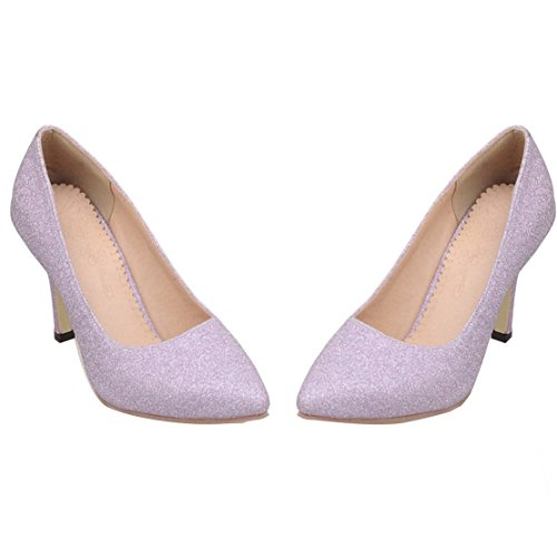 Aiyoumei Damen Glitzer Spitz Stileto High Heels Pumps Mit 8cm Absatz