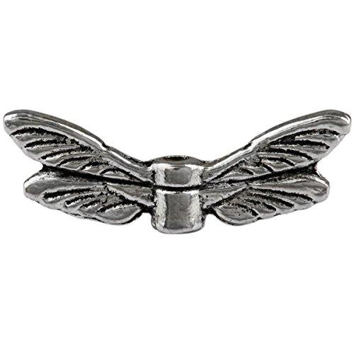 SUNYIK 50pcs Tibetan Silver Tone Dragonfly Wings Loose Spacer Beads Findings