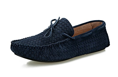 Happyshop (tm) Scarpe Eleganti In Pelle Nabuk Moda Uomo Slip-on Nappa Mocassini Driving Shoes Scarpe Da Barca Taglia 38-44 Blu Scuro
